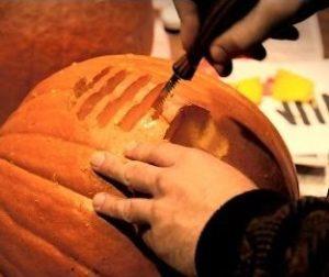 Carving an Energy-themed Pumpkin