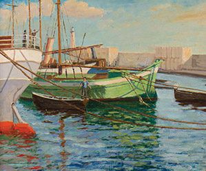 Boats at Cannes Harbor, Sir Winston Churchill (British, 1874-1965), oil on canvas (24x30 in), National Churchill Museum at Westminster College, Fulton, Missouri