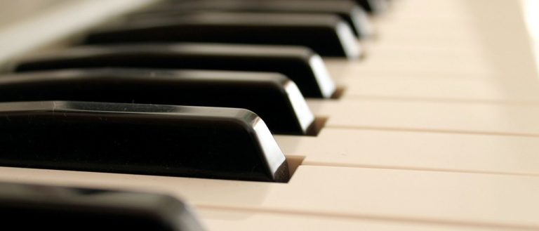 An up-close image of keys on a piano.