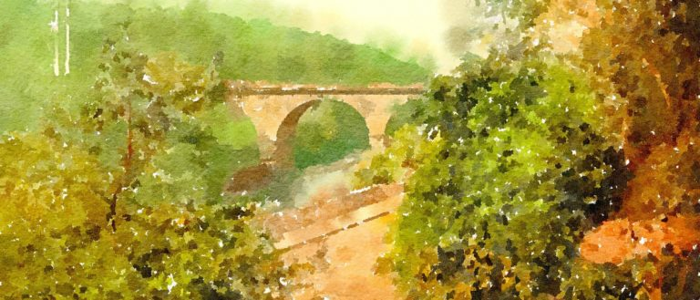 A watercolor landscape of a bridge with trees and a dirt road in the foreground.